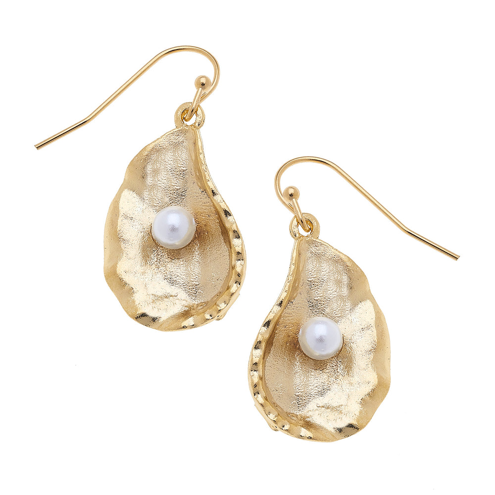 Handcast gold oyster with freshwater pearl earrings.