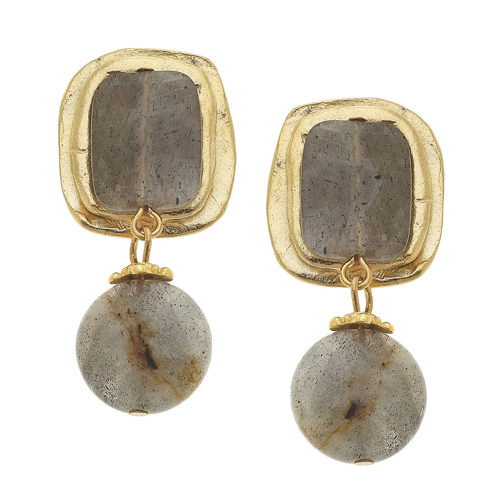 Gold Rectangle and Labradorite Clip Earrings