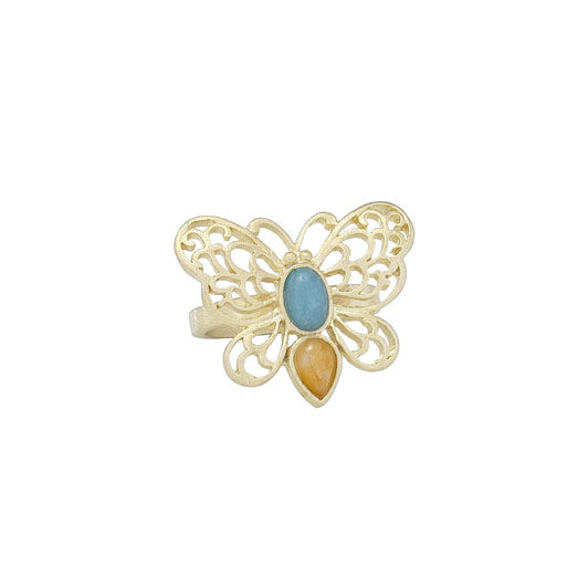 Gold Plated Amazonite & Jade Butterfly Ring