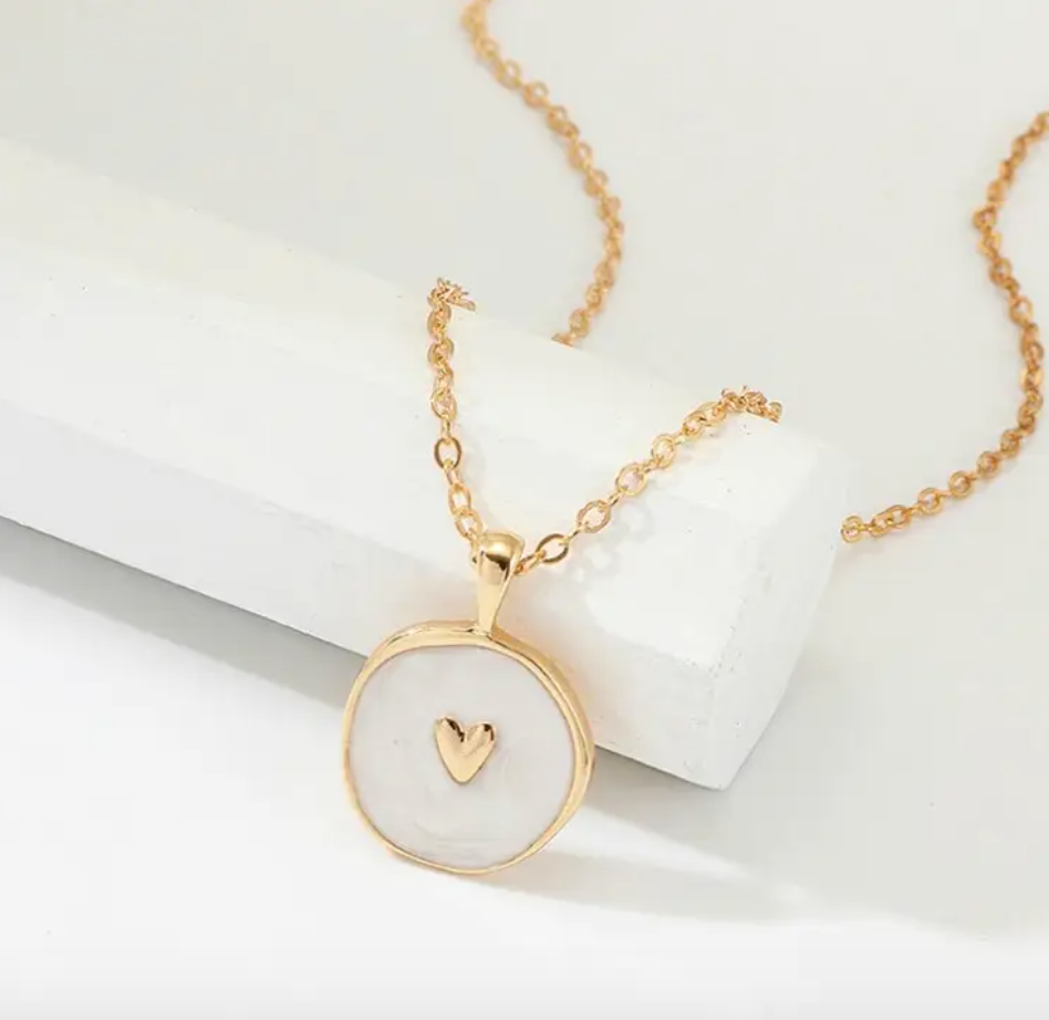 White Gold Heart Enamel Necklace