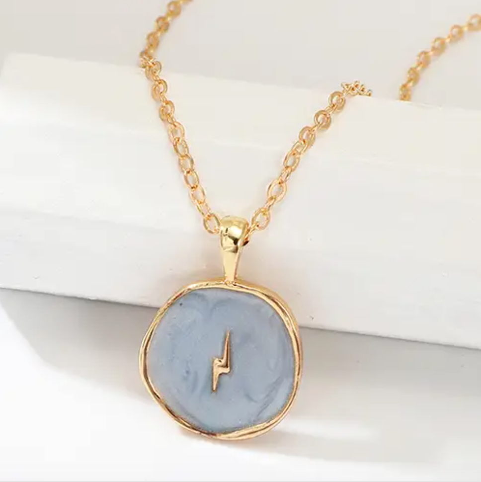 Blue Lightning Enamel Gold Necklace