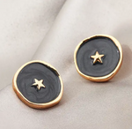 Black Gold Star Enamel Earrings