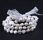 Baroque Shaped Freshwater Pearl & Crystal Bracelet