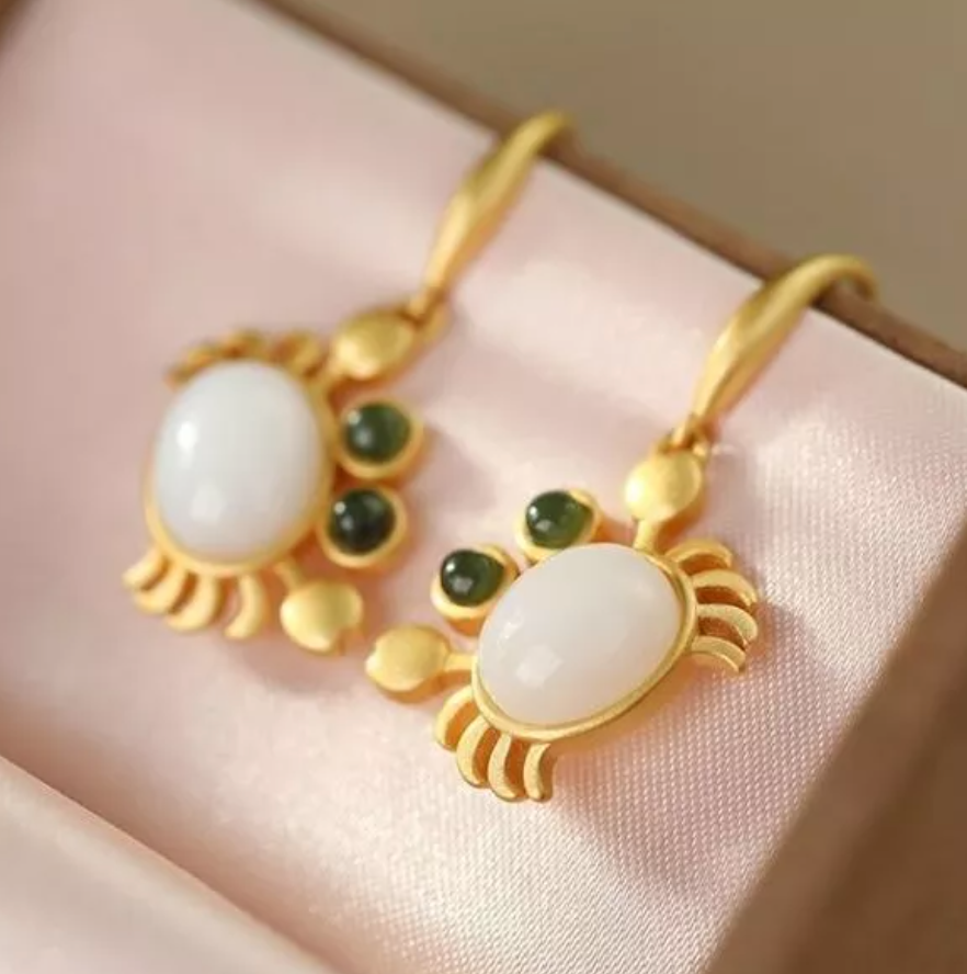 Inlaid Natural Haitian White Jade Crab Earrings