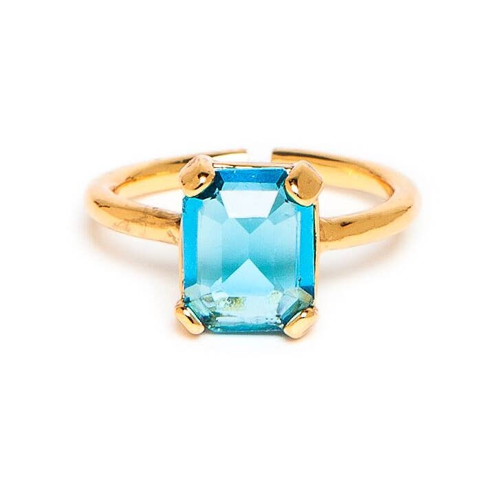 Gold / Turquoise Adjustable Bridget Ring