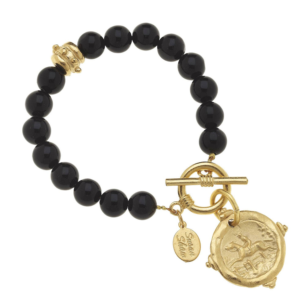 Gold Horse Intaglio on Black Onyx Bracelet