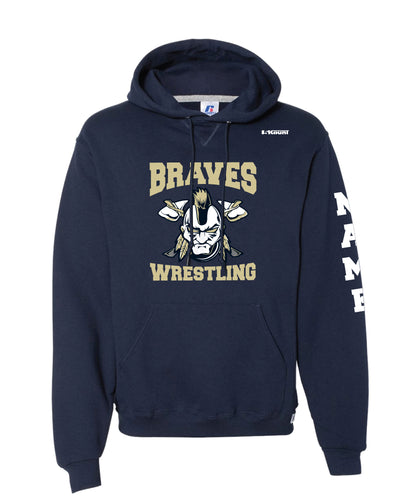 Braves Wrestling Russell Athletic Cotton Hoodie - Navy