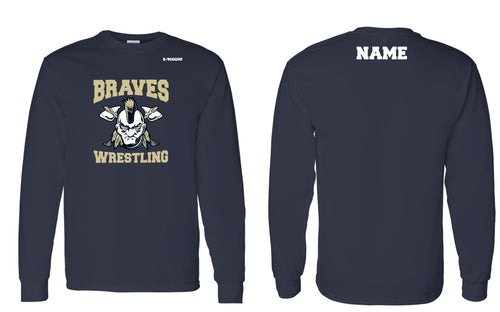 Braves Wrestling Cotton Crew Long Sleeve Tee - Navy