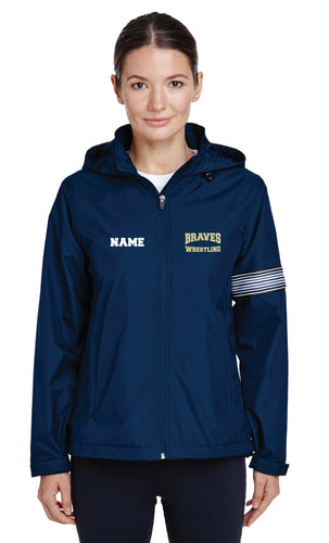 Braves Wrestling All Season Hooded Women's Jacket - Navy