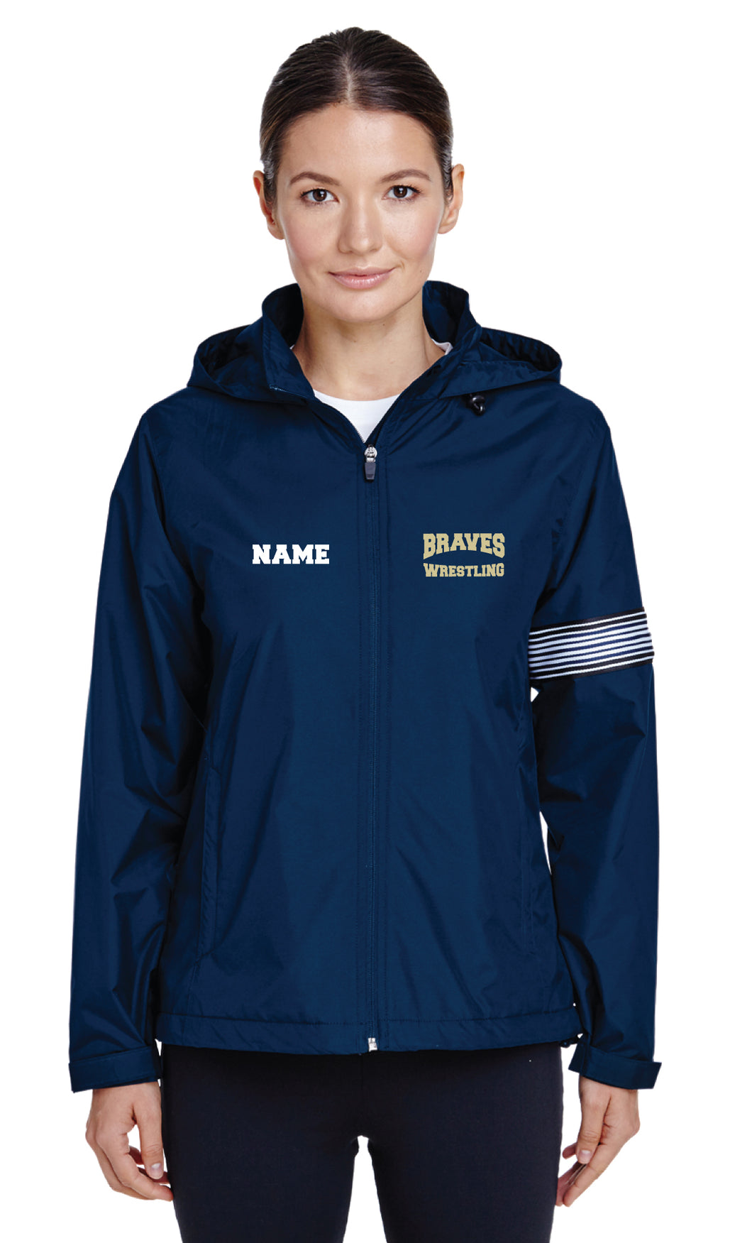 Braves Wrestling All Season Hooded Women's Jacket - Navy - 5KounT2018