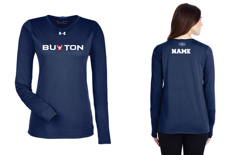 Buxton Under Armour Ladies' Long Sleeve Dryfit T-shirt - Navy - 5KounT2018
