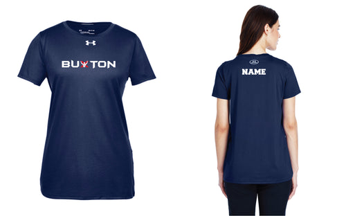 Buxton Under Armour Ladies' Dryfit T-Shirt - Navy - 5KounT2018