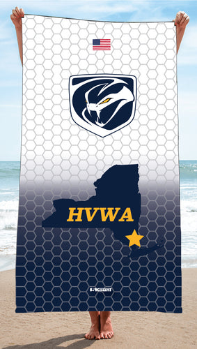 HVWA Sublimated Beach Towel - White/Navy