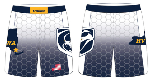 HVWA Sublimated Fight Shorts - White/Navy - 5KounT2018