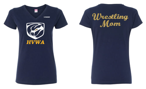 HVWA Wrestling Mom Cotton Women's V-Neck Tee - Navy - 5KounT2018