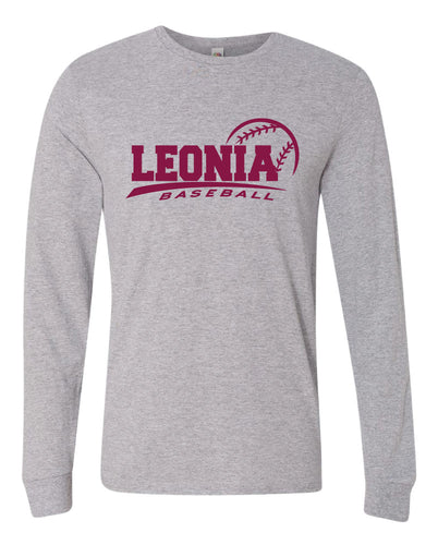 Leonia HS Baseball Cotton Long Sleeve - Athletic Heather Grey