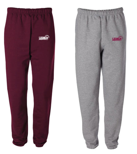 Leonia HS Baseball Cotton Sweatpants - Maroon/Heather Grey