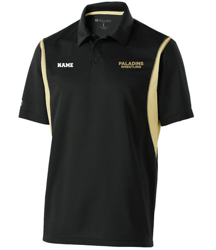 Paramus Catholic Wrestling Men's Dryfit Polo - Black/Vegas Gold - 5KounT2018