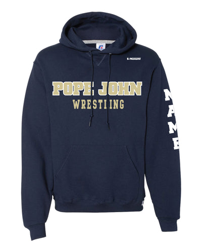 Pope John Wrestling Russell Athletic Cotton Hoodie - Navy