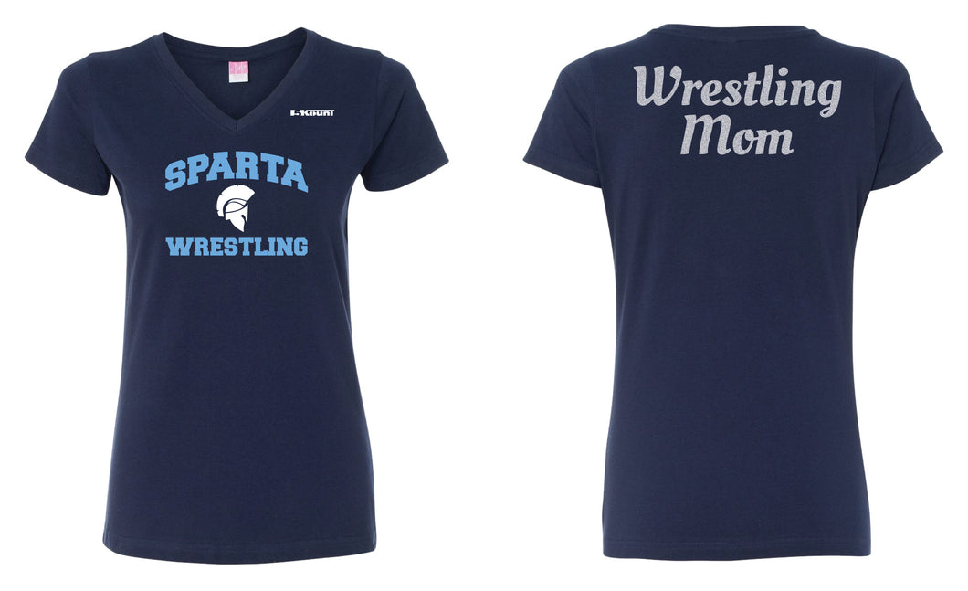 Sparta HS Wrestling Mom  Glitter Cotton Women's V-Neck Tee -Navy