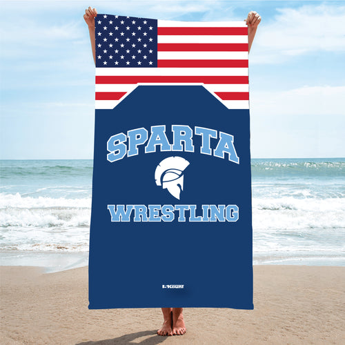 Sparta HS Wrestling Sublimated Beach Towel