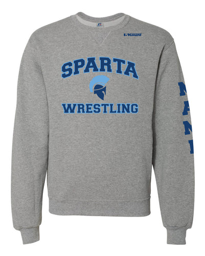 Sparta HS Wrestling Russell Athletic Cotton Crewneck Sweatshirt - Grey