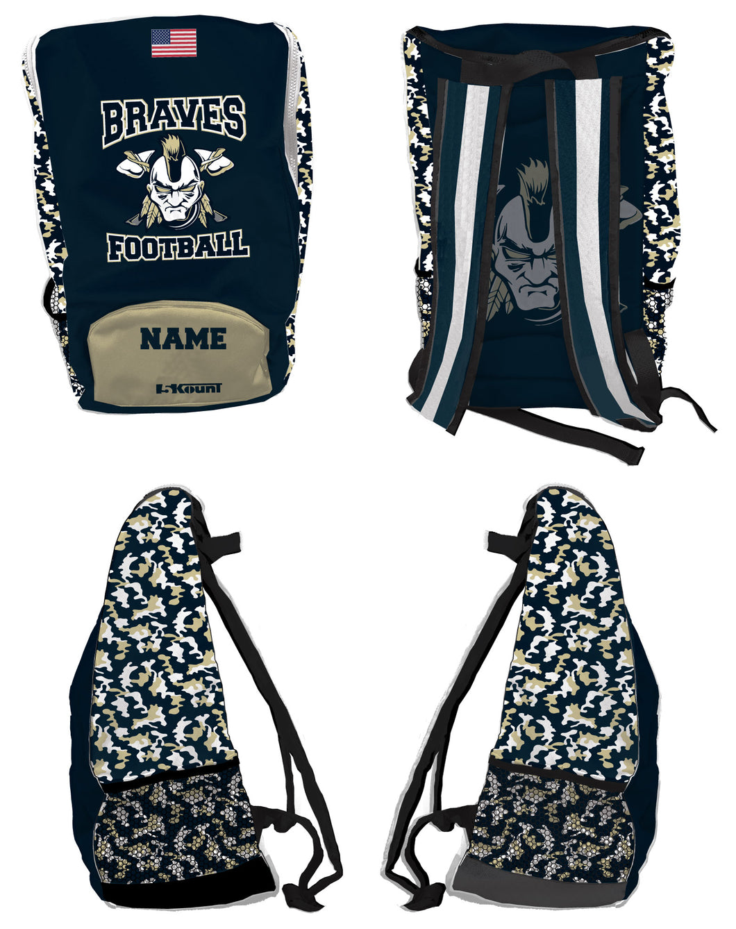 Braves Football Sublimated Backpack