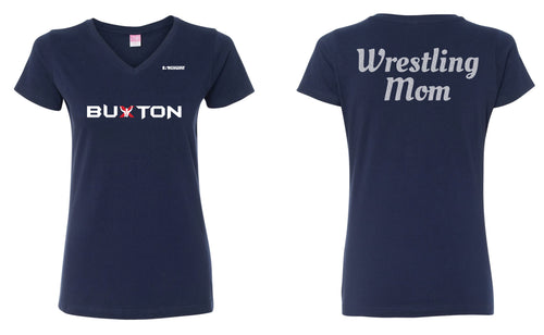 Buxton Wrestling Mom Glitter Cotton Ladies' V-Neck Tee - Navy - 5KounT2018