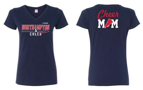 Northampton Indians Cheer Mom Cotton Women's V-Neck Tee - Navy