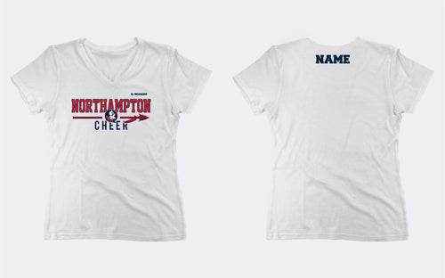 Northampton Indians Cheer Women's V Neck Tee - White