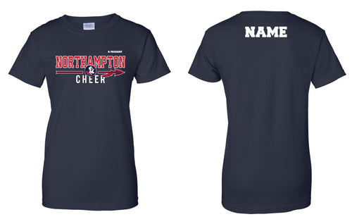 Northampton Indians Cheer Cotton Women's Crew Tee - Navy