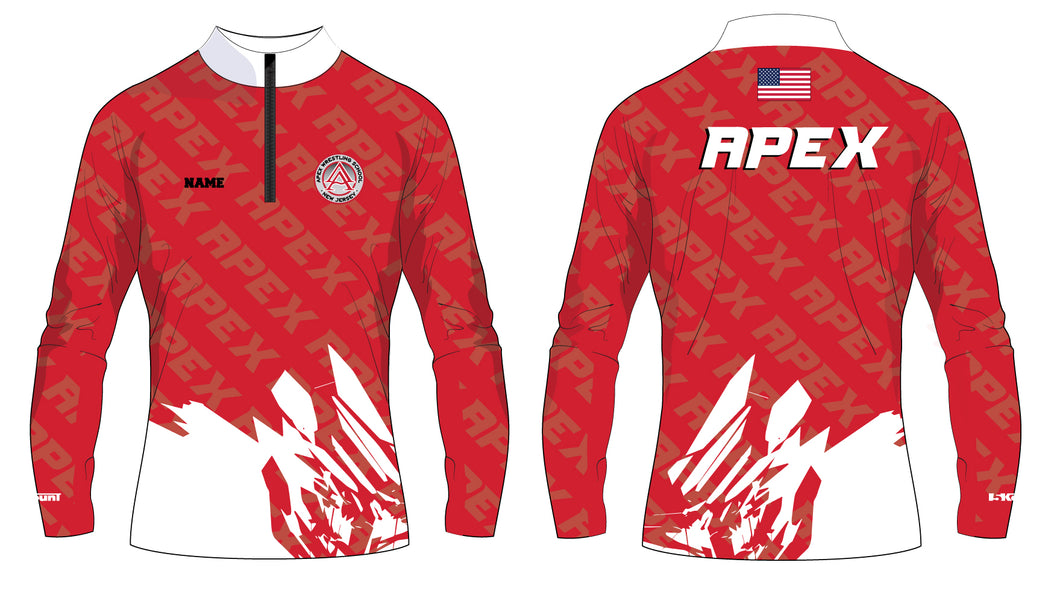 Apex Wrestling Sublimated Red and White Quarter Zip Design 3 - 5KounT2018
