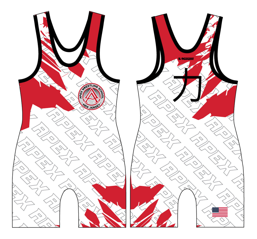 Apex Wrestling Sublimated White & Red Men's Singlet Design 4