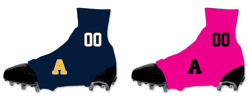 Andover Warriors Football Sublimated Spats (Cleat Covers) - Navy/Pink - 5KounT2018
