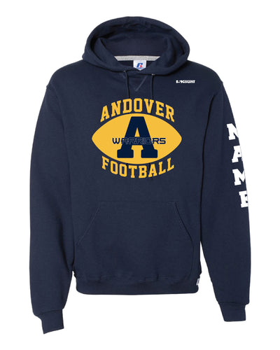 Andover Warriors Football Russell Athletic Cotton Hoodie - Navy - 5KounT2018