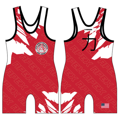 APEX Wrestling White & Red Singlet