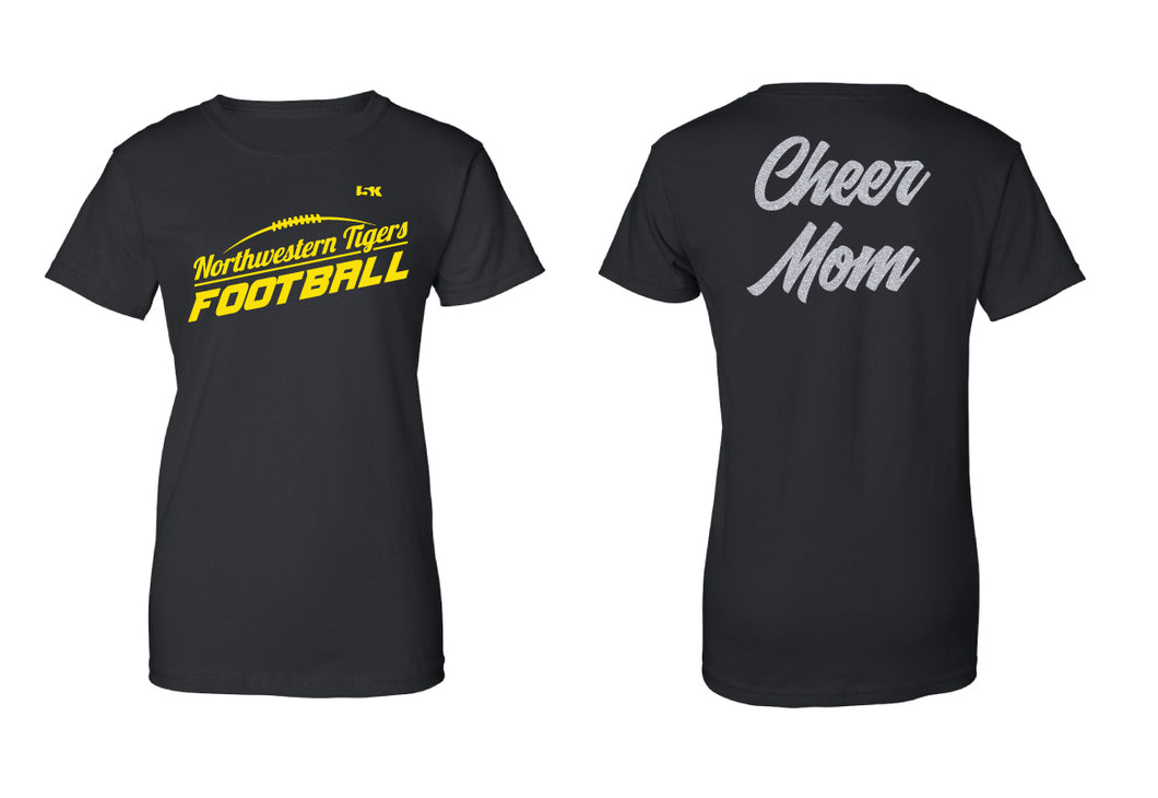 Northwestern Tigers Football Glitter Cotton Unisex Crew Cheer MOM Tee - Black
