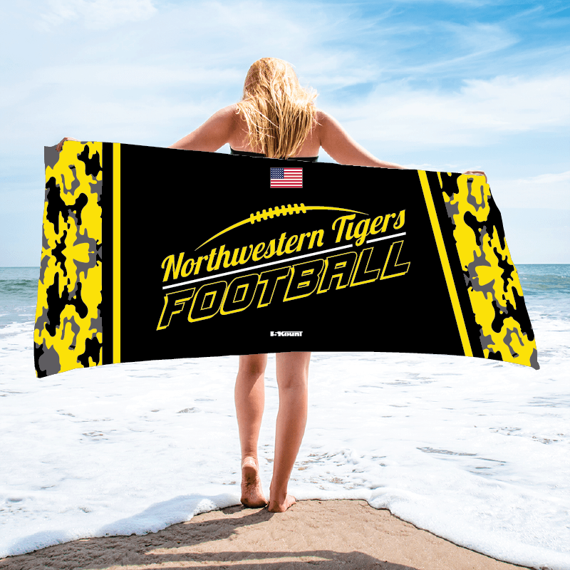 Northwestern Tigers Football Sublimated Beach Towel - 5KounT2018