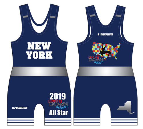 Pinning Down Autism Singlet - All-Star Team New York [REQUIRED UNIFORM] - 5KounT2018