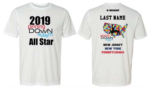 Pinning Down Autism 2019 ALL STAR - Dryfit Performance Tee - 5KounT2018