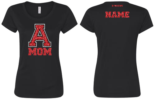 Avery HS Athletics Glitter MOM Tee - Black