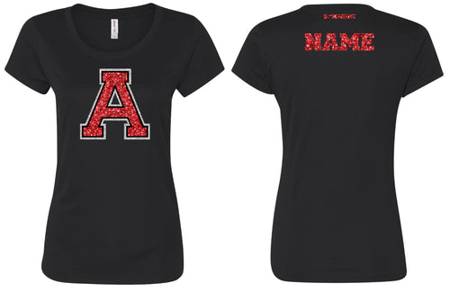Avery HS Athletics Glitter Cotton Crew Tee - Black