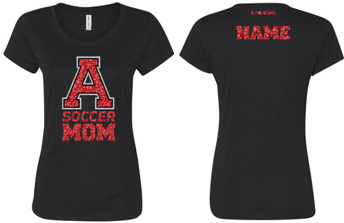 Avery HS Soccer Glitter MOM Tee - Black