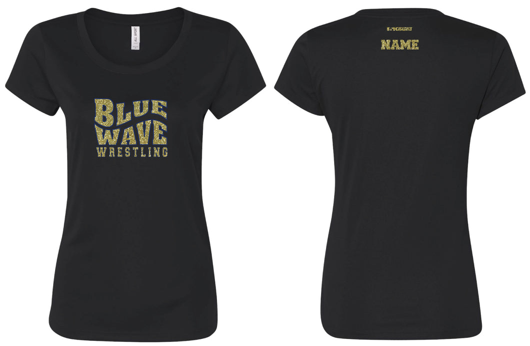 Blue Wave Wrestling Glitter Cotton Crew Tee