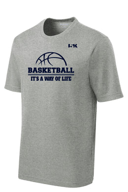 Basketball is a Way of Life Dryfit Performance Tee - Grey