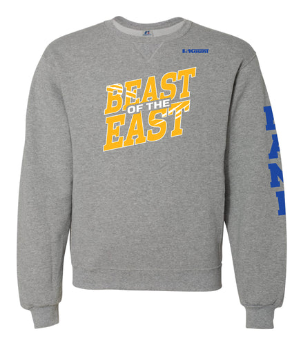Beast of the East Wrestling Russell Athletic Cotton Crewneck Sweatshirt - Grey - 5KounT2018