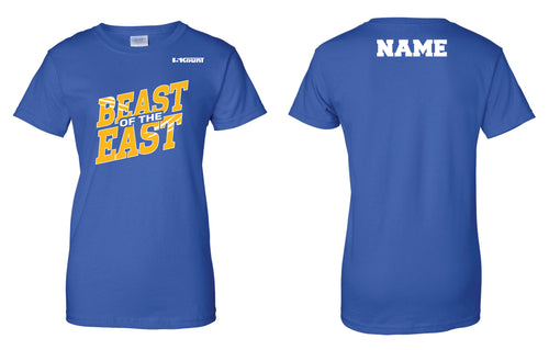 Beast of the East Wrestling Cotton Women's Crew Tee - Royal - 5KounT2018
