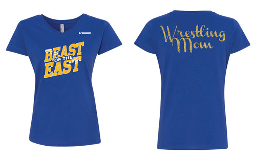 Beast of the East Wrestling Mom Glitter Cotton Women's V-Neck Tee - Royal - 5KounT2018