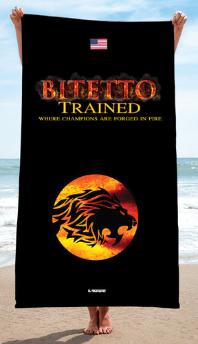 Bitetto Trained Sublimated Beach Towel - Black