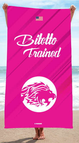 Bitetto Trained Sublimated Beach Towel - Pink